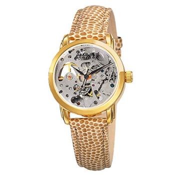 August Steiner Women's Skeleton Automatic Watch - Stainless Steel Face on Genuine Calfskin Leather Strap - AS8033