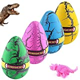 YKL WORLD Hatching Growing Dinosaur Toys, Magic 4 Pack Large Size Grow Dinosaurs Egg That Hatch in Water Easter Dino Eggs Party Favor Gifts for Kids