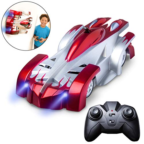 Force1 Remote Control Car Gravity Defying RC Car - RC Cars for Kids and Adults, Race Car Boys Toys for Floor or Wall w/ USB for Rechargeable Fast RC Car (Red)