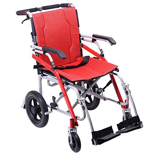 Hi-Fortune 21 lbs Lightweight Transport Medical Wheelchair with Adjustable Armrests and Hand Brakes, Portable and Folding with Magnesium Alloy, 18' Seat, Red