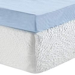 Classic Brands 3″ Gel Memory Foam Mattress Topper, Twin XL, Blue