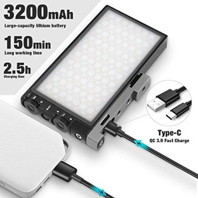 Pixel-G1s-RGB-Video-Light-Built-in-12W-Rechargeable-Battery-LED-Camera-Light-360-Full-Color-12-Common-Light-Effects-CRI97-2500-8500K-LED-Video-Light-Panel-with-Aluminum-Alloy-Body