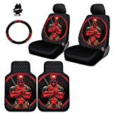 Yupbizauto 8 Pieces Marvel Comic Deadpool Car Seat Covers Floor Mats and Steering Wheel Cover Set with Air Freshener