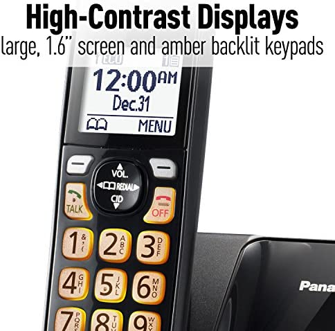 Panasonic Expandable Cordless Phone System with Call Block and High Contrast Displays and Keypads - 1 Cordless Handset - KX-TGD510B (Black) 15