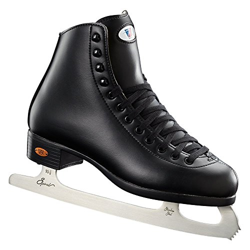 Riedell Skates - 10 Opal - Recreational Youth Ice Skates with Stainless Steel Spiral Blade | Black | Size 1 Junior