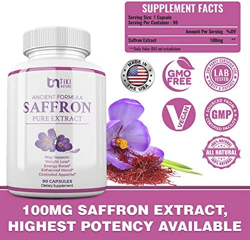 Saffron Extract Supplement 100mg - Powerful Appetite Suppressant for Weight Loss Eye & Heart Health Support - Organic Anti-Stress Energy & Mood Booster for Men & Women - 90 Veggie Pills 2