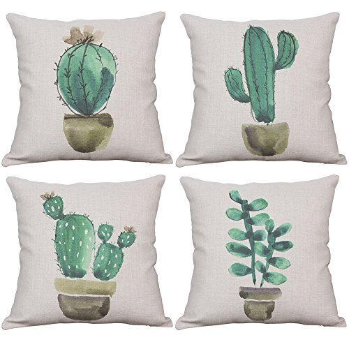 YeeJu Set of 4 Cactus Throw Pillow Covers Decorative Cotton Linen Cushion Covers Square Couch Pillow Covers 18x18 Inch