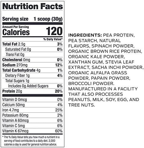 Vega Protein and Greens Vanilla (25 Servings, 26.8 Ounce) - Vegan Plant Based Protein Powder Shake, Gluten Free, Non Dairy, Non Soy, Non GMO 2