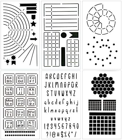 Ultimate Productivity Journal Stencil Set - Custom-Designed Supplies for Bullet Dotted Journal Planners, DIY Templates to Create Calendars, Lists, Letters, Numbers, Habit Trackers by Sunny Streak 1