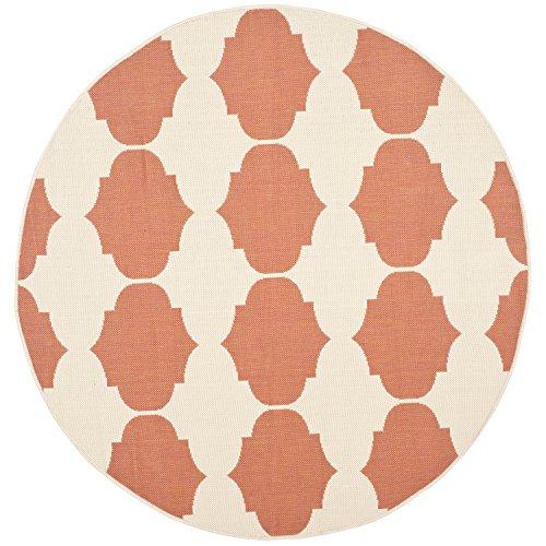 Safavieh Courtyard Collection CY6162-231 Beige and Terracotta Indoor/ Outdoor Round Area Rug (5'3