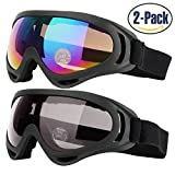 Ski Goggles, Pack of 2, Snowboard Goggles for Kids, Boys & Girls, Youth, Men & Women, with UV 400 Protection, Wind Resistance, Anti-Glare Lenses, made by COOLOO, Multicolor / Gray