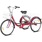 Goplus Adult Tricycle Trike Cruise Bike Three-Wheeled Bicycle with Large Size Basket for Recreation, Shopping, Exercise Men's Women's Bike (Red, 24' Wheel)