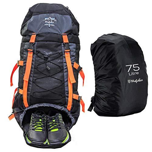 Mufubu Presents 75 ltrs Campsack Rucksack / Camping / Trekking / Hiking Internal Frame Backpack for Outdoor Sports – Black + Neon Green