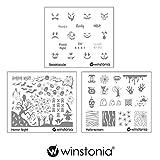Winstonia Nail Art Stamping Image Plate Bundle Set for Halloween - Spooktacular, Horror Night, Hallo-scream