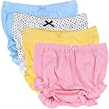 CeeDeek Baby Diaper Covers Combed Cotton Panties 4 Pack Cartoon Bloomers (2-3y, Girls Lacy A)