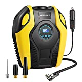 Tire Inflator, Electric Air Compressor Pump, 12V DC Portable Tire Pump with Digital Display up to 150PSI with Emergency LED Lighting and 10ft Long Cable for Car, Bicycle, Ball and Other Inflatables