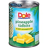 Dole Pineapple Tidbits in 100% Pineapple Juice, 20 Ounce Can (Pack of 12), All Natural Pineapple Tidbits Packed in Pineapple Juice, Naturally Gluten-Free, Non-GMO, No Artificial Sweeteners