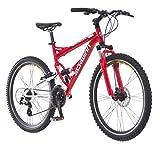 Schwinn Protocol 1.0 Dual-Suspension Mountain Bike with Aluminum Frame, 26-Inch Wheels, Red