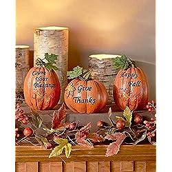 set of 3 inspirational Pumpkins Table Top Haunted House Prop