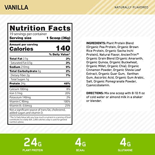 Optimum Nutrition Gold Standard 100% Plant Based Protein Powder, Vitamin C for Immune Support, Vanilla, 1.51 Pound 2