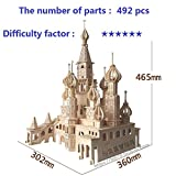 Lingduan Innovative New Favorable Imaginative DIY Difficult 3D Simulation Model Wooden Puzzle Kit for Children Or Adults Artistic Wooden Toys for Children-Buildings Series Castle (492 Components)