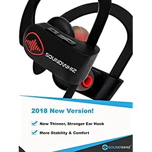 Bluetooth Running Headphones, Best Wireless Workout Earbuds w/ Mic IPX7 HD Stereo Sweatproof In Ear Earphones for Gym Running Workout 8 Hour Battery Noise Cancelling Headsets