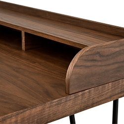Amazon Brand – Rivet Modern Wood and Metal Hairpin Small Table Desk, 47.2″W, Walnut