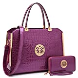 Women Large Designer Handbags Purses Vegan Leather Briefcases Top Handle Satchel Work Bags for 13' Laptop (Croco Purple)