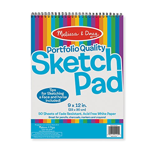 """Melissa & Doug Sketch Pad 9"""" by 12"""", Arts & Crafts, Fade-Resistant, Acid-Free White Paper, 50 Sheets, Single Pack, 13"""" H x 9"""" W x 0.5"""" L"""
