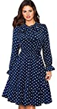 Merope J Womens Polka Dot Full Sleeves Swing Flouncing Hem Dress(S,Navy)