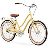 sixthreezero EVRYjourney Women's Single Speed Step-Through Hybrid Cruiser Bicycle, Cream w/Brown Seat/Grips, 26' Wheels/ 17.5' Frame
