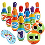 Toyssa Bowling Set Indoor Foam Bowling Game Early Educational Toys for Toddler Kids with 10 Pins 2 Balls and 1 Eye Mask