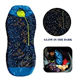 AceCamp Kids Sleeping Bags for Boys Girls Glow-in-The-Dark Sleeping Bag Blue Purple Mummy Style Toddler Sleeping Bags Extreme Temp Rating 30F/ -1C Great for Slumber Party/Travel/Camping