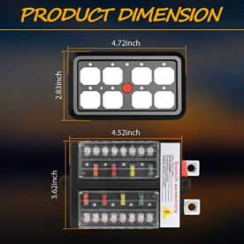 8-Gang-Switch-Panel-Automatic-Dimmable-Niwaker-On-Off-LED-Car-Switch-Panel-Universal-Circuit-Control-Relay-System-Box-Touch-Switch-Box-with-Label-Stickers-for-Truck-ATV-UTV-Boat-Caravan-Marine