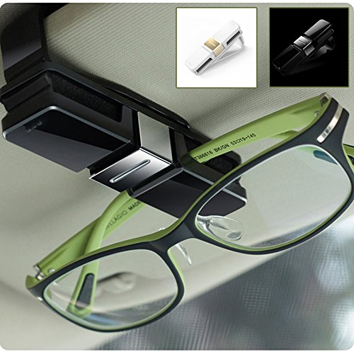 HaloVa Car Glasses Holder, Car Visor Sunglasses Ticket Clip Holder, Double Sunglasses Mount Eyeglasses Clip Cash Money Card Holder for Auto Sun Visor/Air Vent, Black