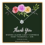 KEDRIAN Thank You Necklace, 925 Sterling Silver, Thank You Gifts for Women, Appreciation Gifts for Women, Teacher Appreciation Gifts, Thank You Gift, Friendship Necklace, Employee Appreciation Gifts