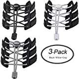 LEWEK No Tie Shoelaces for Kids and Adults - Tieless Elastic Shoe lace withLock System for Sneakers, Boots or Tennis, Running Shoes (3 Pairs Black White Gray)