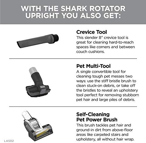 Shark LA502 Rotator Lift-Away ADV DuoClean PowerFins Upright Vacuum with Self-Cleaning Brushroll Powerful Pet Hair Pickup and HEPA Filter, 0.89 Quart Dust Cup Capacity, Silver 23