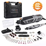 TACKLIFE Rotary Tool 200W Power Variable Speed with Upgraded Flex Shaft, 63 Accessories, 4 Attachments, Carrying Case, Multi-Functional for Around-The-House and Crafting Projects - RTD36AC