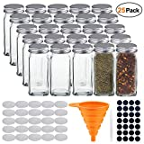 STONEKAE 25 Pcs Glass Spice Jars- Square Glass Containers With Square Empty Jars 4oz, Airtight Cap, Chalkboard & Clear Label, Shaker Insert Tops and Wide Funnel - Complete Organizer Set