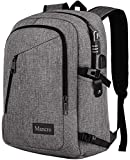 School Backpack, College Laptop Backpacks Anti Theft Durable Bag for Women, Men, Boys and Girls, Business Travel Water Resistant Bookbag with USB Charging Port Fits UNDER 17 Inch Laptop (Grey)