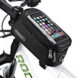 COTEetCI Bicycle Bike Frame Front Tube Beam Bag Transparent PVC Cycling Pannier Pouch Basket for Phone Screen Touch Holder -Black