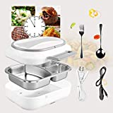 Electric Lunch Box - #HAPPY SCHOOL YEAR# Toursion Dual Use Car Home Office Portable Food Heater deluxe edition with Removable 304 Stainless Steel Container 110V&12V(Free Spoon & Fork)