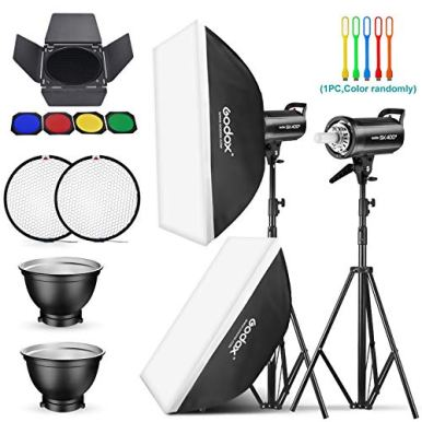 Godox-2-Pack-SK400II-800Ws-Photo-Speedlite-Studio-Flash-Strobe-Monolight-Bowens-Mount-Kit-for-Studio-ShootingVideo-Location-and-Portrait-Photography-with-SoftboxLight-StandBarn-Door-KitReflector