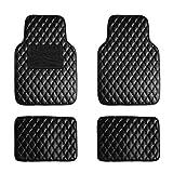 FH Group F12002BLACK Luxury Universal All-Season Heavy-Duty Faux Leather Car Floor Mats Diamond Design w. High Tech 3-D Anti-Skid/Slip Backing