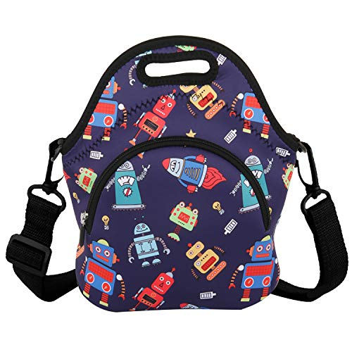 Neoprene Lunch Bag Reusable Tote Bag Cool Boy Insulated Lunch Box Adult Large Lunch Tote Handbag Fordable for Men & Women