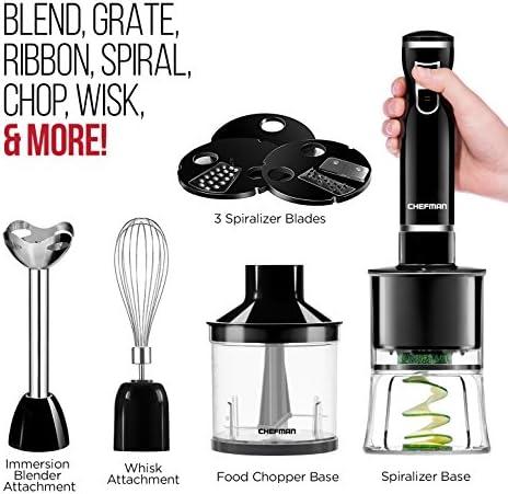 Chefman Electric Spiralizer & Immersion Blender/Vegetable Slicer 6-IN-1 Food Prep Combo Kit, Includes 3 Spiralizing Blade Attachments, Zoodle Maker; Grate, Ribbon, Spiral, Blend, Chop, and Puree,Black