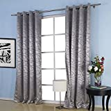 """IYUEGO Jacquard Belonging Room Darkening Thermal Grommet Top Curtain Drapes With Multi Size Custom 50"""" W x 84"""" L (One Panel)"""