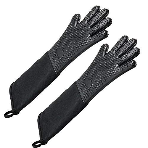 Extra Long Professional Silicone Oven Mitt, Heat Resistant Cooking Glove with Internal Cotton for Kitchen,BBQ,Baking,Grill - Black