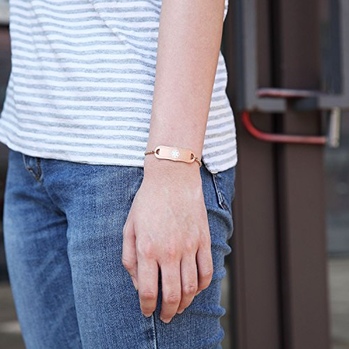 BBX JEWELRY Medical Alert ID Bracelets Rose Gold for Women Girls Adjustable Length 5-8.5 inches deal 50% off 51bRAGoR6XL